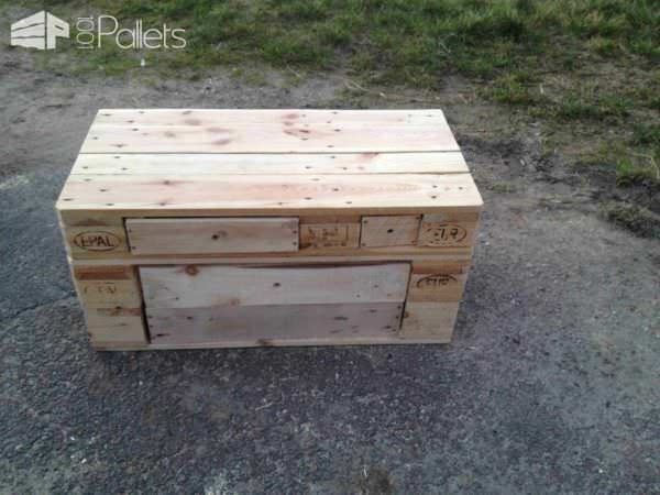 These Pallet Benches don't even need knobs - they simply use holes drilled into the drawers that finger can easily fit into.