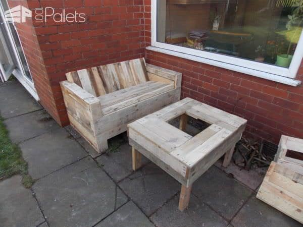 Pallet Garden Set (Bench + Table) Lounges & Garden Sets
