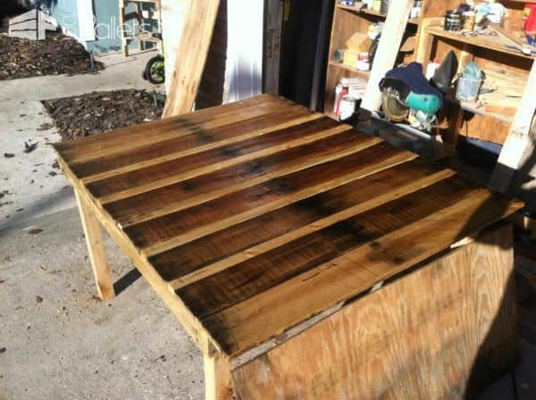 Pallet Table With Natural Stain Pallet Desks & Pallet Tables