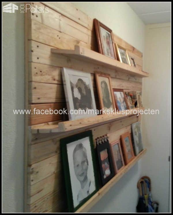 Photo Wall Made of Recycled Pallet Wood Pallet Shelves & Pallet Coat Hangers Pallet Wall Decor & Pallet Painting