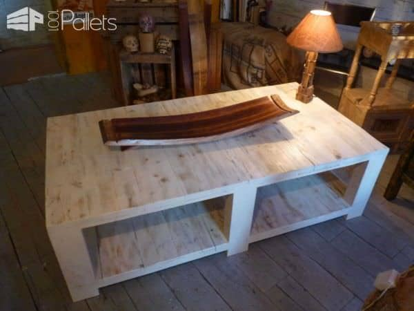 table basse bois de grosse palette coffee table made from large upcycled pallet wood 1001. Black Bedroom Furniture Sets. Home Design Ideas