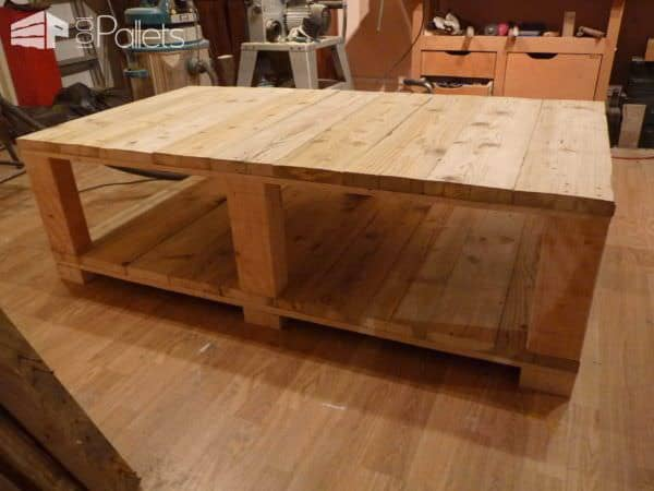 Table Basse Bois De Grosse Palette - Coffee Table Made From Large Upcycled Pallet Wood Pallet Coffee Tables