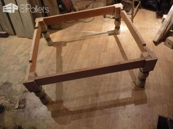 Table basse bois de grosse palette coffee table made for Table basse palette