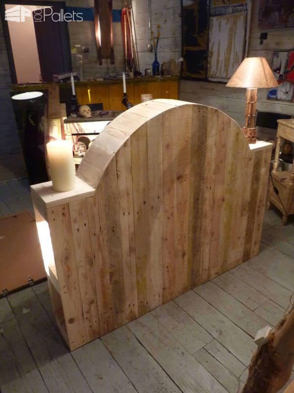 t te de lit en bois de palette pallet bed headboard from upcycled pallet woord 1001 pallets. Black Bedroom Furniture Sets. Home Design Ideas