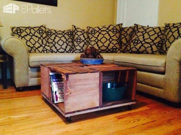 Crate Table Made Out Of Reclaimed Pallet Wood Pallet Coffee Tables