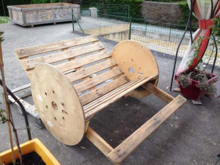 Pallet benches pallet chairs stools page 22 of 36 - Rocking chair jardin ...