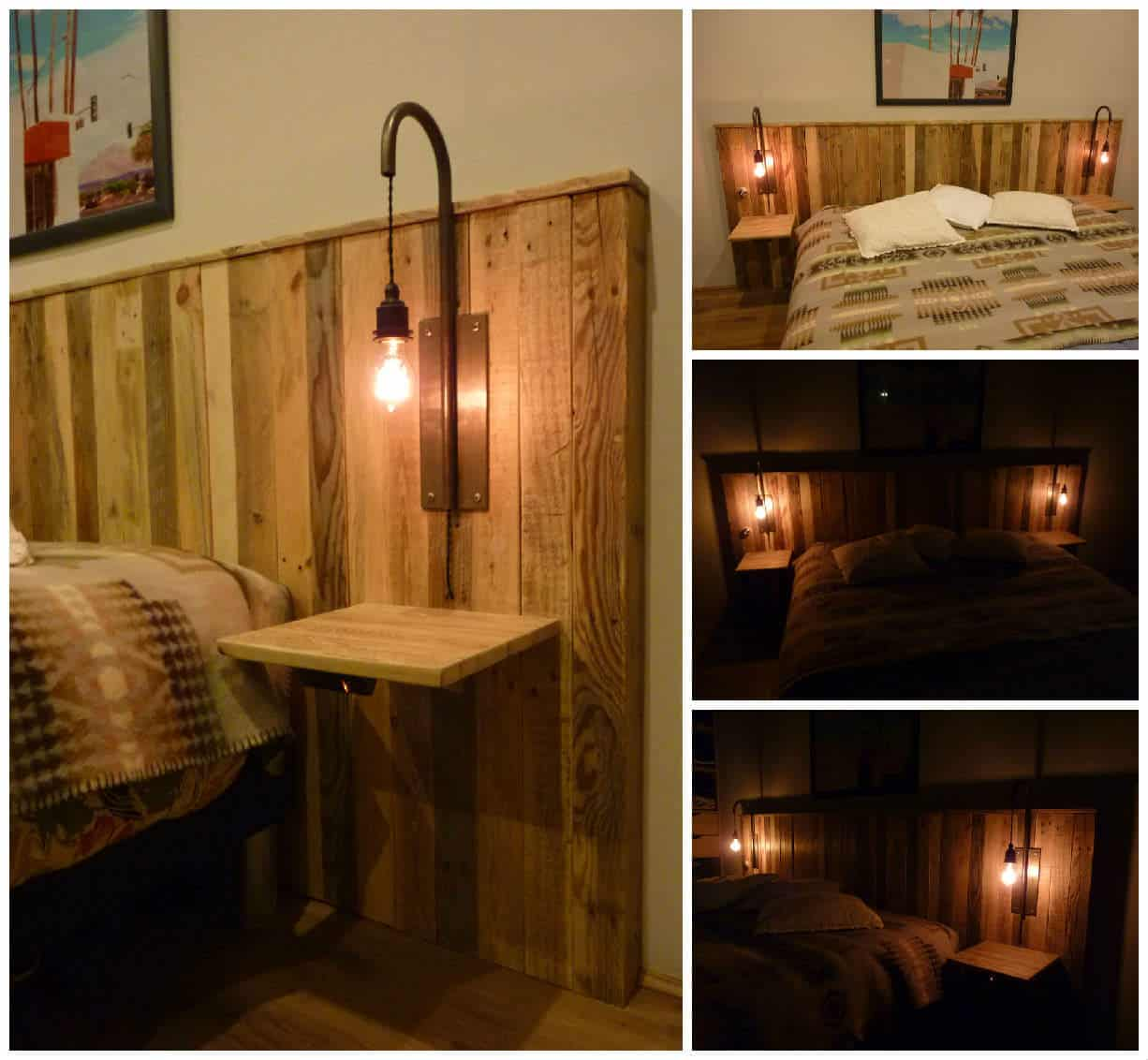 pallet bed headboard with lights t te de lit en palettes. Black Bedroom Furniture Sets. Home Design Ideas