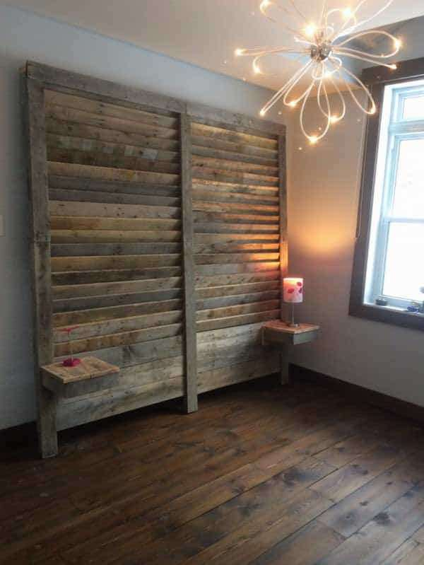 Pallet bed headboard with side tables 1001 pallets for Pallet bed frame with side tables