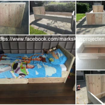Pallet Bed Made Of Recycled Pallet & Scaffolding Wood