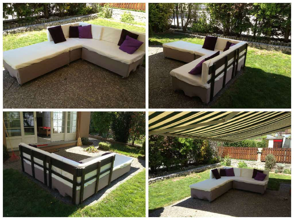 pallets garden couch canap de jardin en palettes euro 1001 pallets. Black Bedroom Furniture Sets. Home Design Ideas
