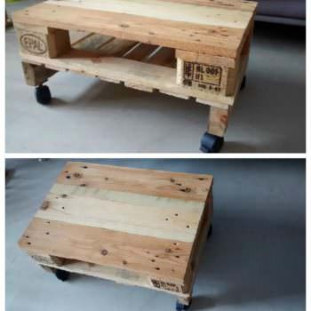 Simple Pallet Coffee Table On Wheels