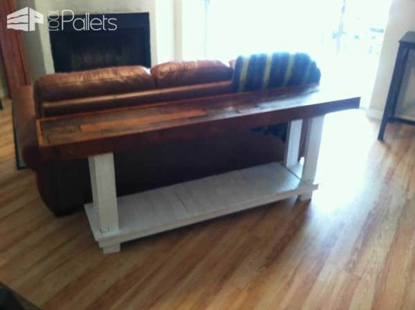 Sofa Table Made From Reclaimed Pallets Pallet Desks & Pallet Tables