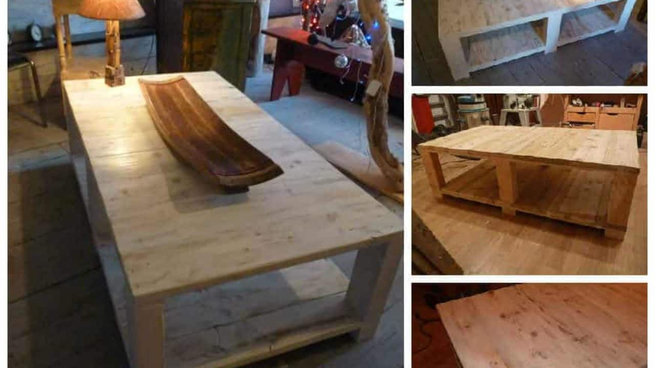 Table Basse Bois De Grosse Palette Coffee Table Made From