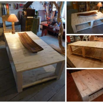 Table Basse Bois De Grosse Palette - Coffee Table Made From Large Upcycled Pallet Wood
