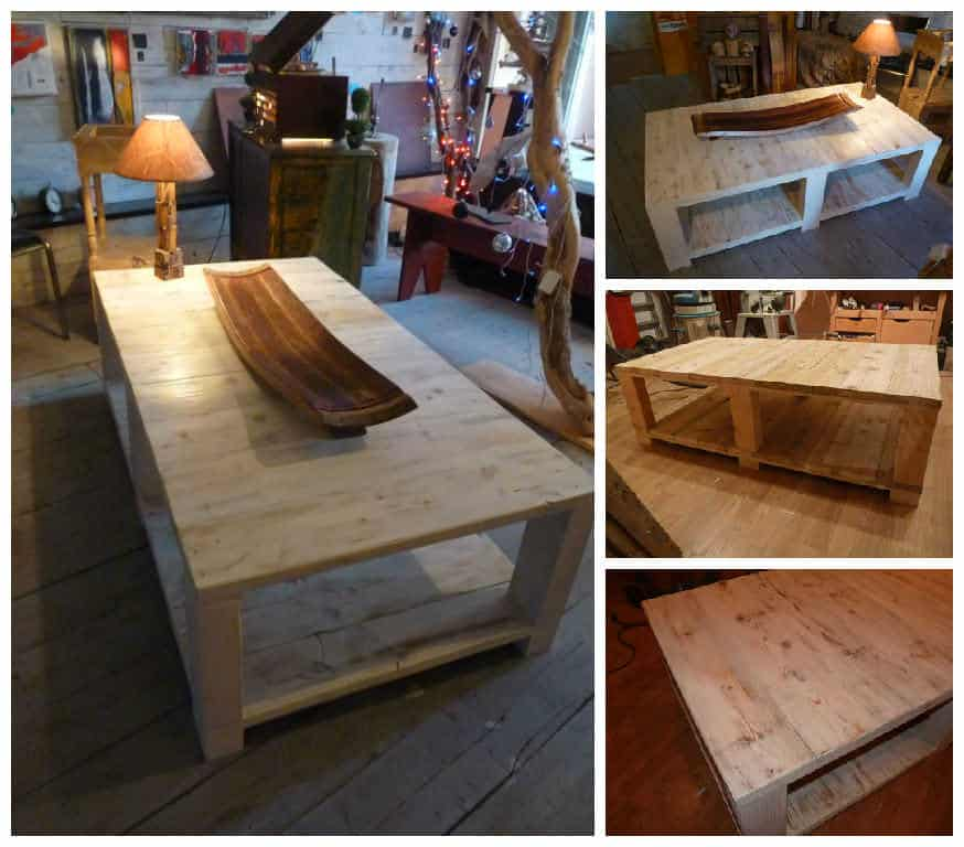 Table Basse Ronde Plateau Amovible ~ Table Basse Bois De Grosse Palette  Coffee Table Made From Large