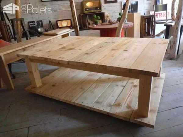 Table basse bois de grosse palette coffee table with king size pallet 100 - Table bois de palette ...