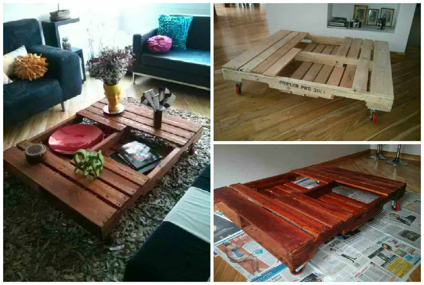 Table basse en palette pallet coffee table pallet - Table basse palette roulettes ...