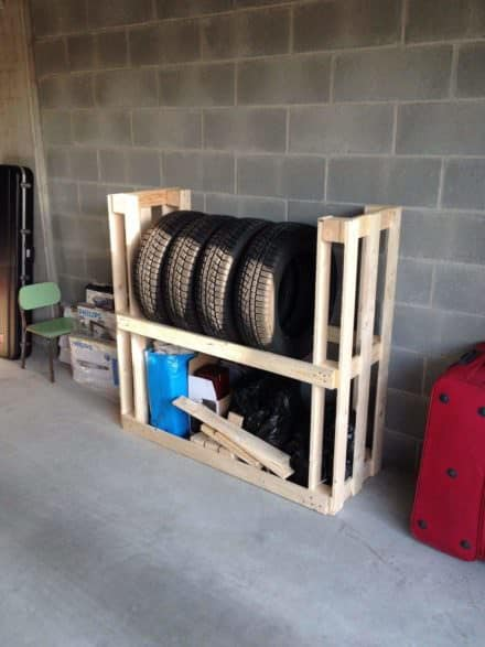 Tire Rack From Upcycled Wooden Pallets