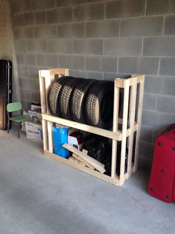 Tire Rack From Upcycled Wooden Pallets Pallet Cabinets & Pallet Wardrobes