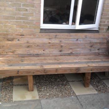 Upcycled Pallet Into Patio Bench