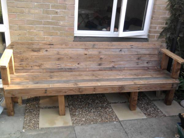 Upcycled Pallet Into Patio Bench Pallet Benches, Pallet Chairs & Stools