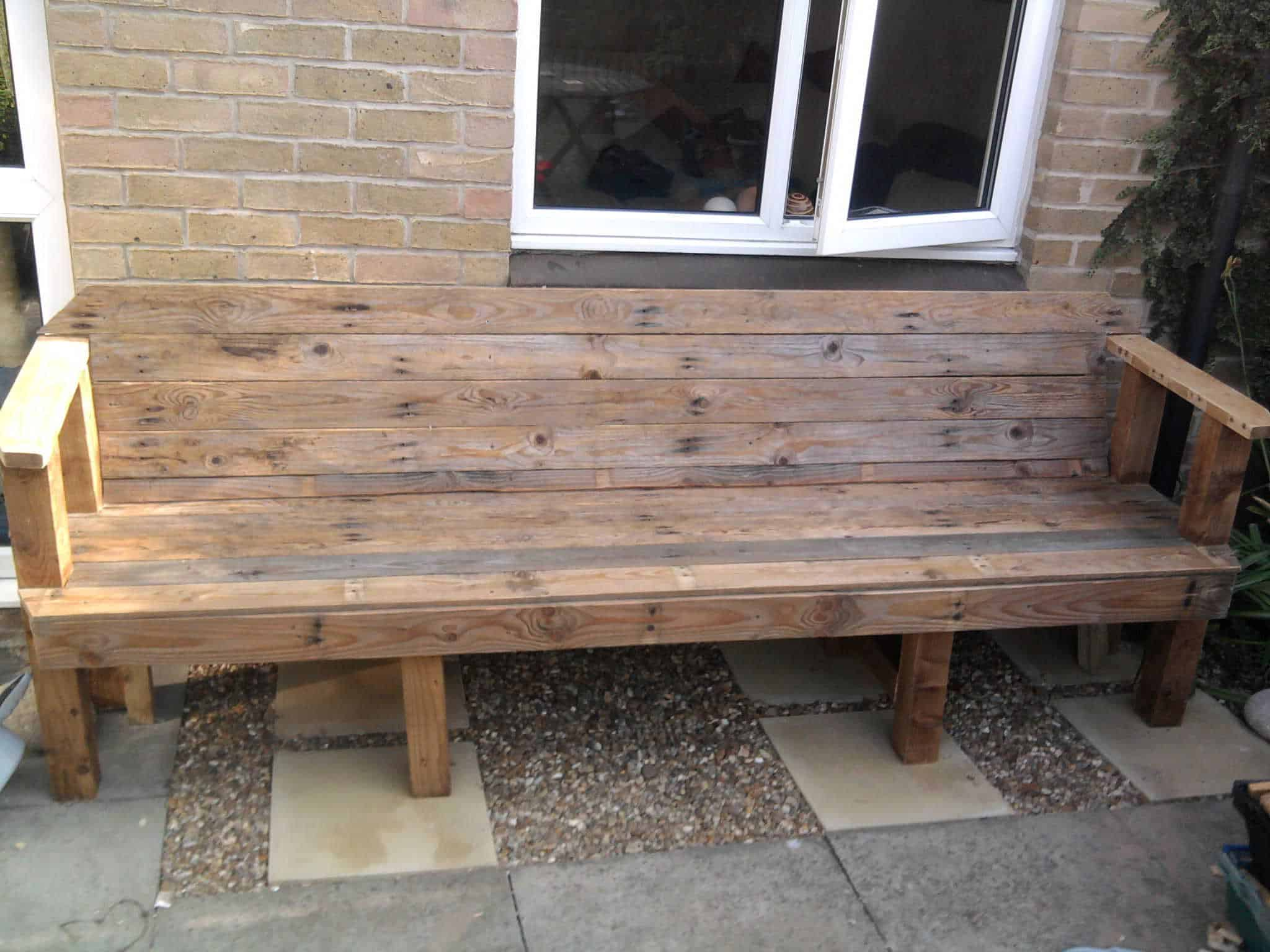 Patio From Pallets Upcycled Pallet Into Patio Bench O Pallet Ideas O 1001 Pallets