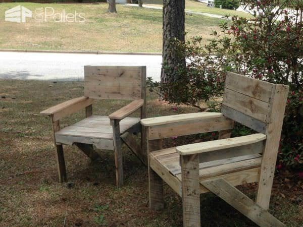 Wide Seat Pallet Chair Set Lounges & Garden Sets Pallet Benches, Pallet Chairs & Stools
