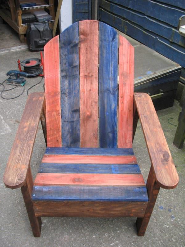 Adirondack Chair Made From Two Upcycled Pallets Pallet Benches, Pallet Chairs & Pallet Stools