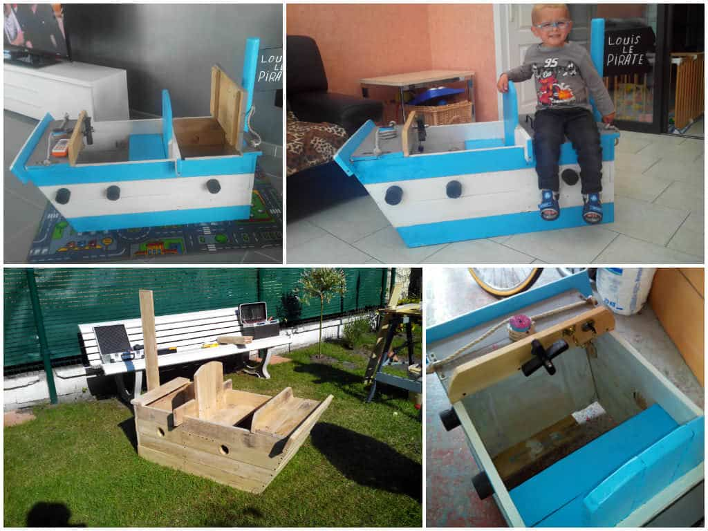bateau pirate kids pirate ship made from pallets 1001 pallets. Black Bedroom Furniture Sets. Home Design Ideas