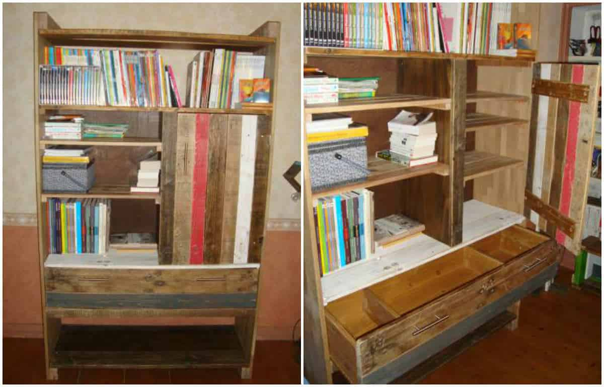 biblioth que en palette pallets bookshelf 1001 pallets. Black Bedroom Furniture Sets. Home Design Ideas