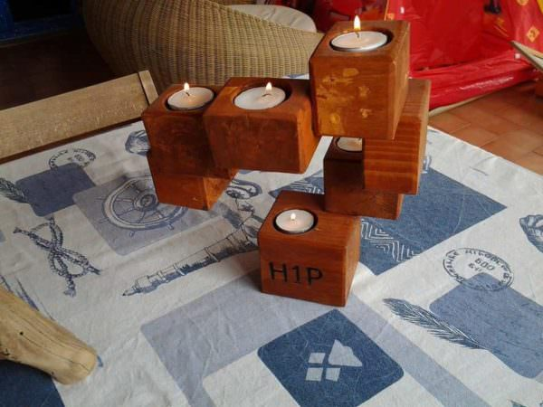Candle Holder From Upcycled Pallet Blocks Pallet Candle Holders