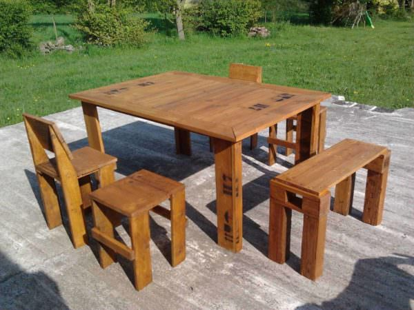 Our Pallet Garden Set Pallet Benches, Pallet Chairs & StoolsPallet Desks & Pallet Tables