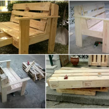 Pallet Garden Chair With Drawers