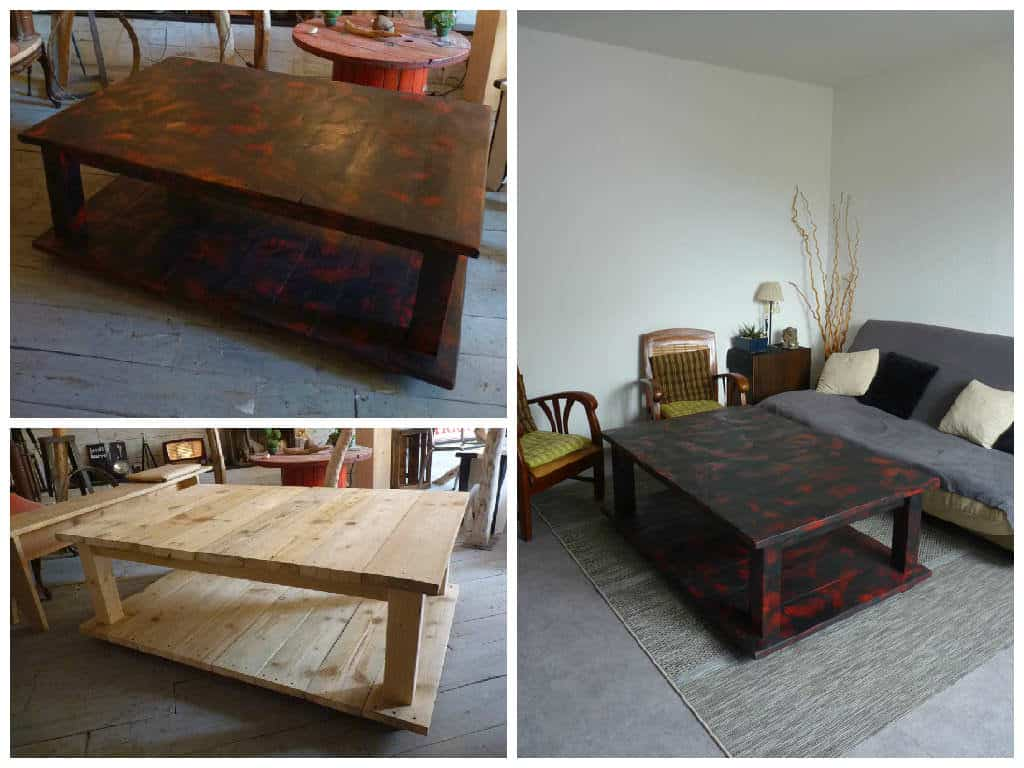 table basse bois de grosse palette coffee table with king size pallet 1001 pallets. Black Bedroom Furniture Sets. Home Design Ideas