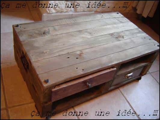 Table basse en palette pallet coffee table pallet - Petite table basse ...