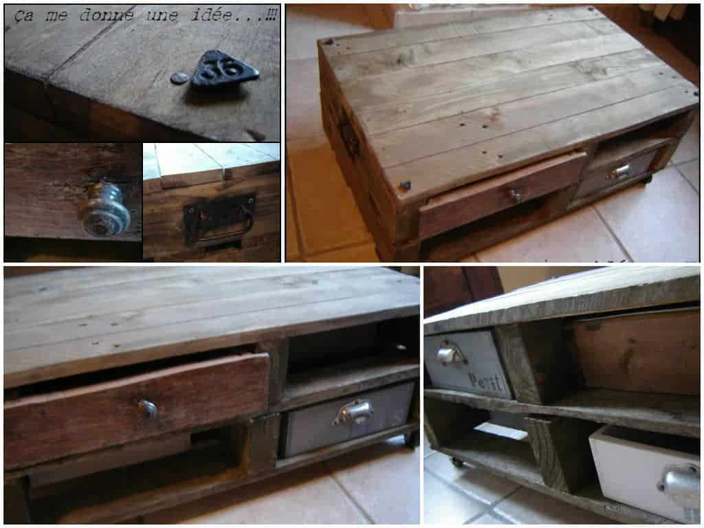 Table basse en palette pallet coffee table pallet for Table basse palette