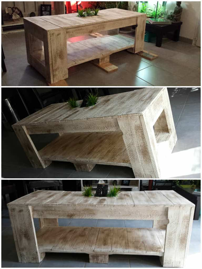 table basse palettes pallet coffee table 1001 pallets. Black Bedroom Furniture Sets. Home Design Ideas
