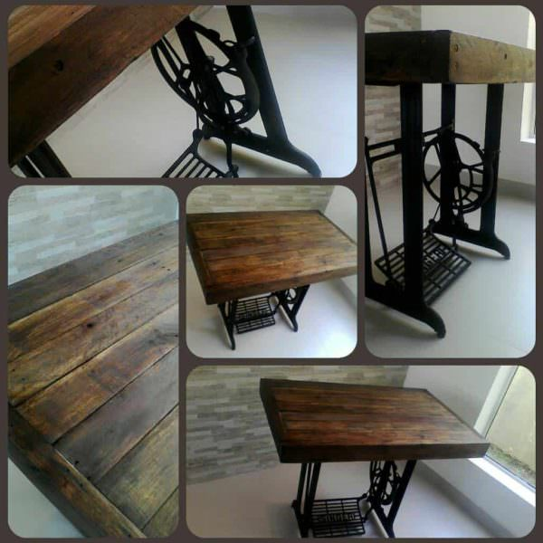 Vintage Table Made Out Of An Old Sewing Machine & Recycled Pallets Pallet Desks & Pallet Tables