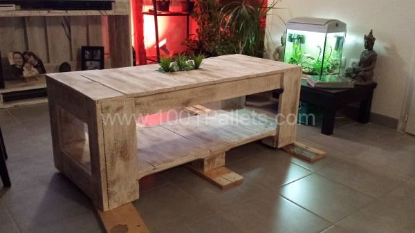Table basse palettes pallets coffee table 1001 pallets for Idee table basse palette