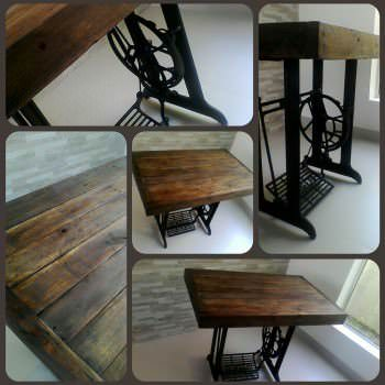 Vintage Table Made Out Of An Old Sewing Machine & Recycled Pallets