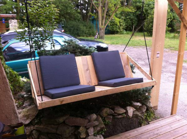 Balancelle En Palettes Recyclées / Pallet Swing Pallet Benches, Pallet Chairs & Stools