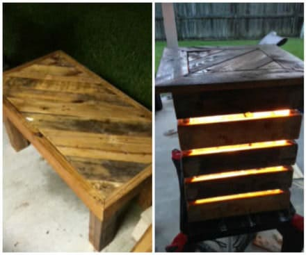 Lighted Patio Table Made Out Of Wooden Pallets