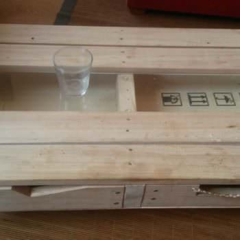 Pallet & Glass Coffee Table With Drawers
