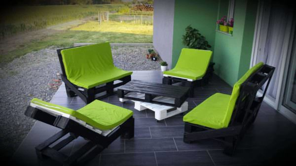 Pallet Terrace - Black & Green Combination Lounges & Garden Sets Pallet Benches, Pallet Chairs & Stools