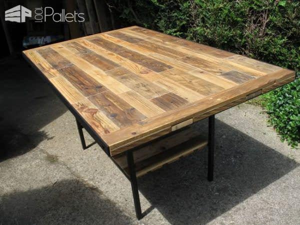 table de style industriel industrial style pallet table 1001 pallets. Black Bedroom Furniture Sets. Home Design Ideas