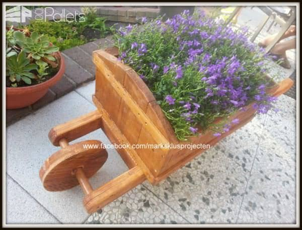 Wheelbarrow Planter Made Out Of Pallet Wood Pallet Planters & Compost Bins