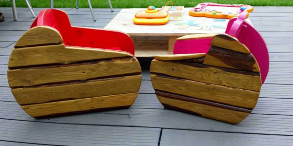 Kids Armchairs In The Garden / Fauteuil D'extérieur Pour Enfants Fun Pallet Crafts for Kids Pallet Benches, Pallet Chairs & Stools