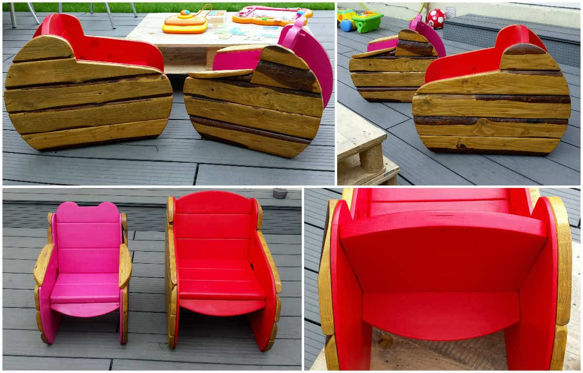 Kids armchairs in the garden fauteuil d 39 ext rieur pour for Fabricacion de muebles con palet de madera
