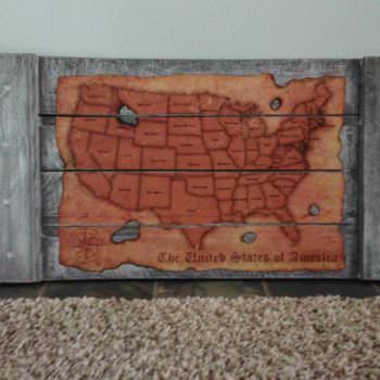 Map of America From Pallet Wood
