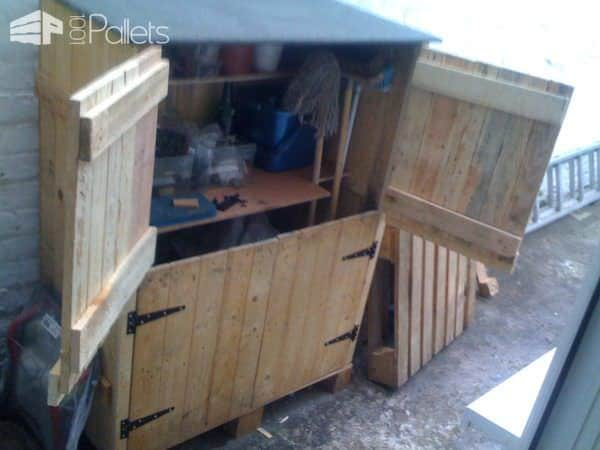 Small Tools Shed Made From Recycled Pallets Pallet Cabinets & Pallet Wardrobes